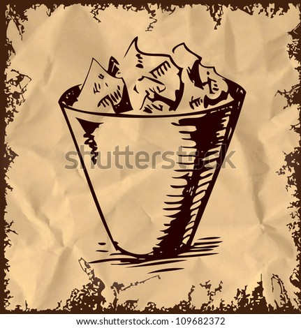Trash bin icon isolated on vintage background. Hand drawing sketch vector illustration - stock vector
