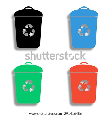 trash bin icon with shadow - colored vector set