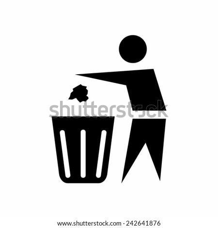 Trash bin or trash can with human figure symbol in vector