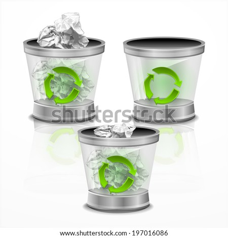 Trash bin  vector - stock vector