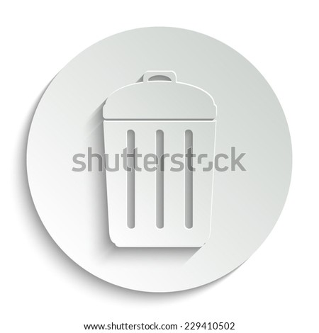 Trash bin - vector icon with shadow on a round button