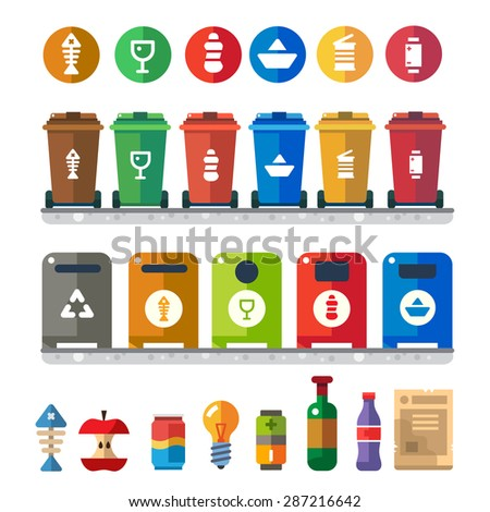 Trash bins, sorting garbage: food waste, glass, metal, paper, plastic. Vector flat illustration of colorful garbage containers - stock vector