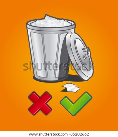 Trash bucket - stock vector