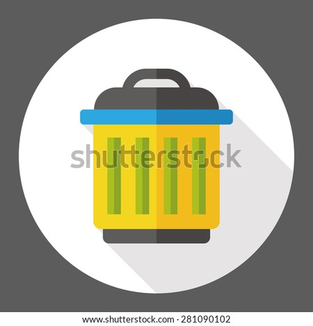 trash can flat icon with long shadow - stock vector