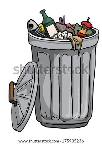 Trash can full of rubbish, vector illustration - stock vector