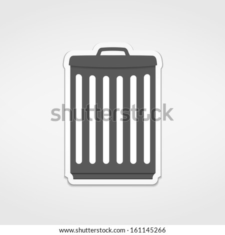 Trash can icon sticker, vector eps10 illustration