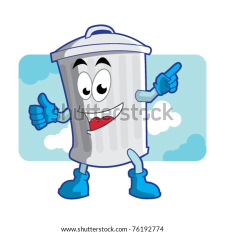 trash can mascot / character illustration vector - stock vector