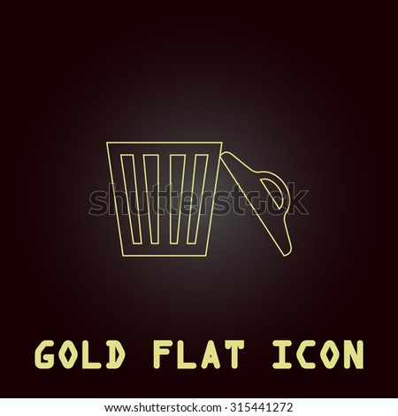 Trash can. Outline gold flat pictogram on dark background with simple text.Vector Illustration trend icon