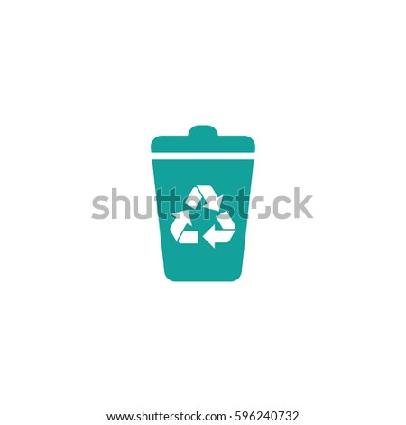 trash can recycle icon on white background