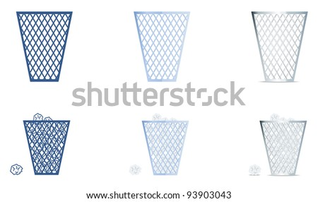 Trash icons set - stock vector