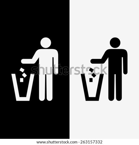 trash icons set great for any use. Vector EPS10. - stock vector