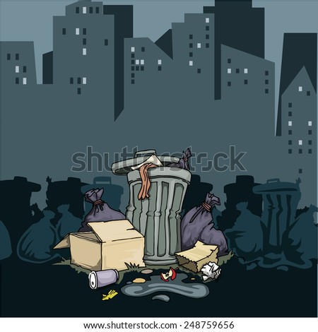 Trash on the edge of the city, vector illustration - stock vector