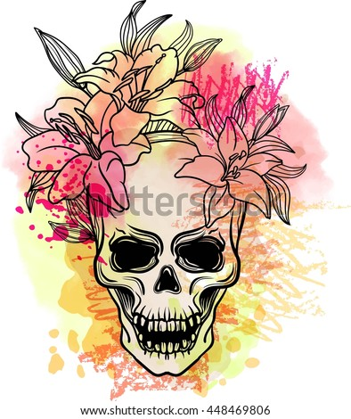 Trash skull with blood splatter and lily flowers. Trash polka old school tattoo style. Watercolor, dotwork. Sacred Geometry with triangles Vector. - stock vector