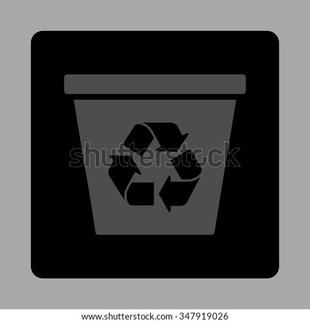 Trashcan vector icon. Style is flat rounded square button, gray and black colors, silver background.