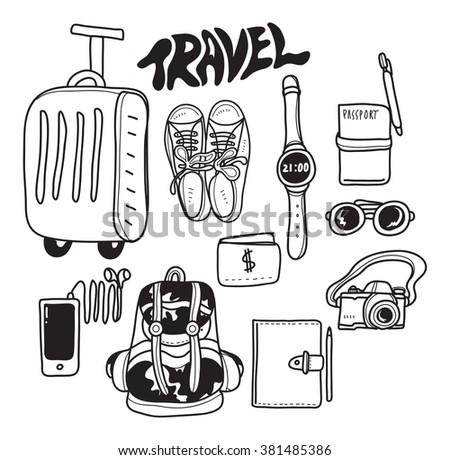 travel accessories doodle - stock vector