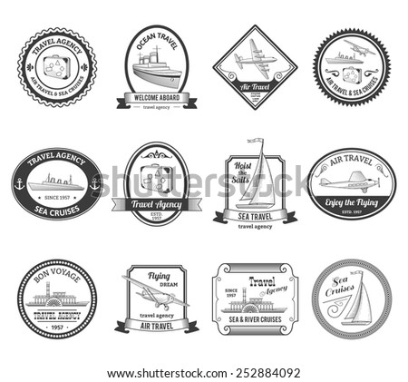 Travel agencies air and sea vacation cruises emblems labels collection with yachts black abstract isolated vector illustration - stock vector