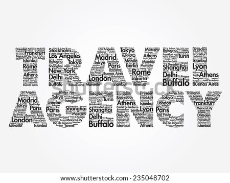 TRAVEL AGENCY concept made with words cities names, vector collage