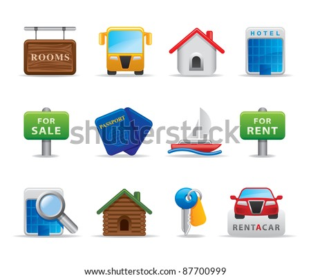 Travel agency icons and logo - stock vector