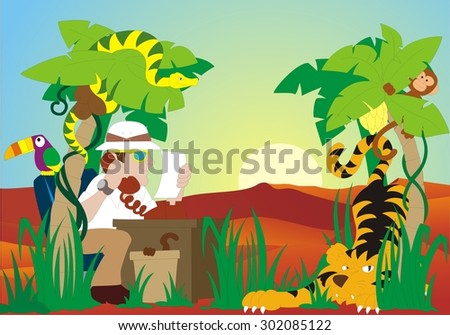 travel agent in nature - baby picture - stock vector