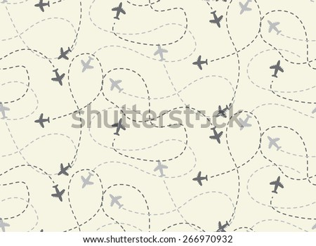 travel airplane routes seamless pattern,  vector, Endless texture can be used for wallpaper, pattern fills, web page,background,surface - stock vector