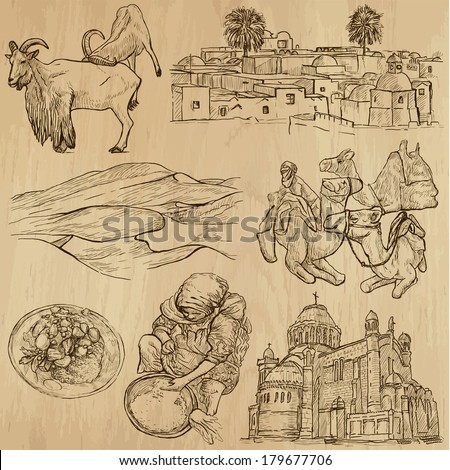 Travel : ALGERIA set no.2. Collection of hand drawn illustrations. Each drawing comprises two or three layers of outlines, the colored background is isolated. - stock vector