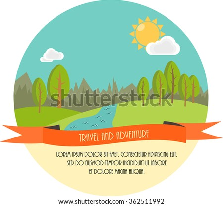 Travel and adventure. Beautiful minimal flat vector illustration. Landscape with trees, river, clouds and the Sun. - stock vector