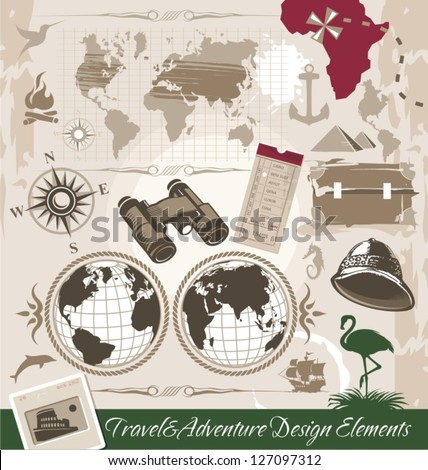 Travel and Adventure Design Elements. Vector background with retro travel theme. - stock vector