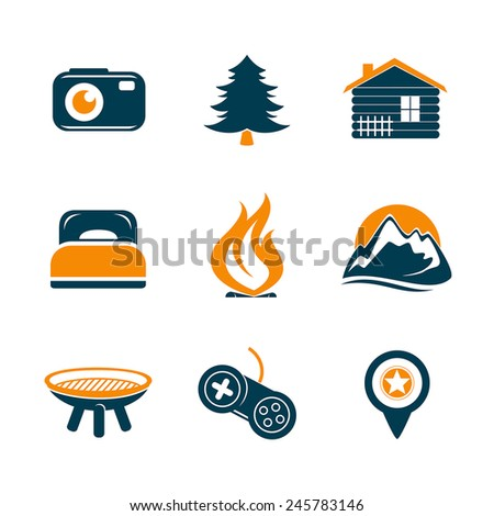 Travel and outdoor icons set - stock vector