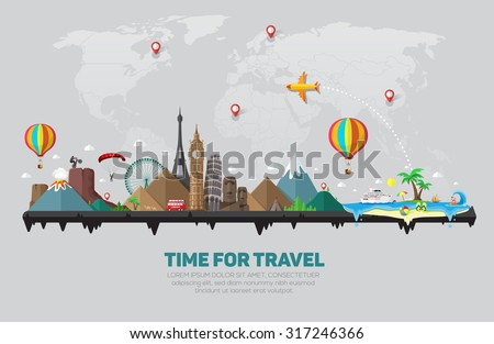 Travel and tourism background.  - stock vector