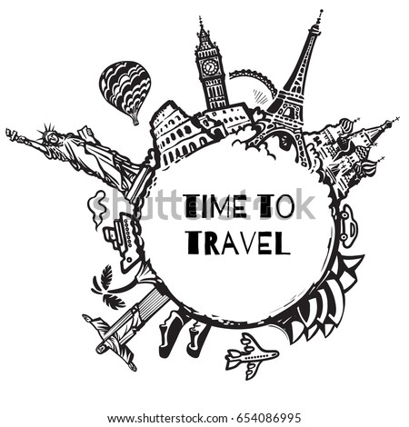 Travel And Tourism Background Famous World Landmarks Located Around The Globe Hand Drawn Vector
