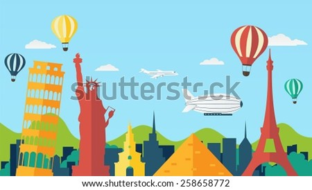 Travel and Tourism Background in Flat Style - stock vector