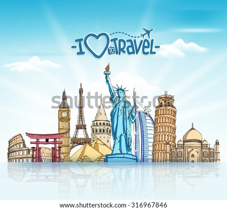 Travel and Tourism Background with Famous World Landmarks in 3d Realistic and Sketch Drawing Elements. Vector Illustration  - stock vector