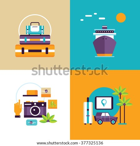 Travel and tourism banner set Summer holiday adventures Flat design - stock vector
