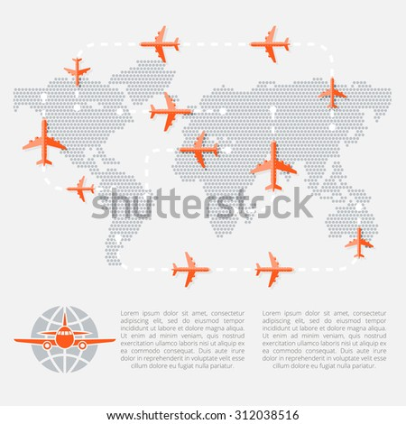 Travel and Tourism concept. Airplanes over map with routes. Vector Illustration. Flat Design. - stock vector