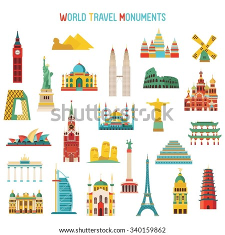 Travel and tourism famous world monuments - stock vector