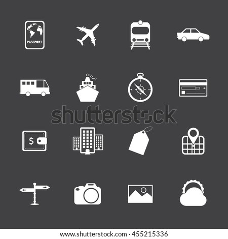 Travel and tourism icon set. - stock vector