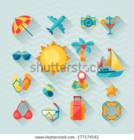 Travel and tourism icon set in flat design style. - stock vector