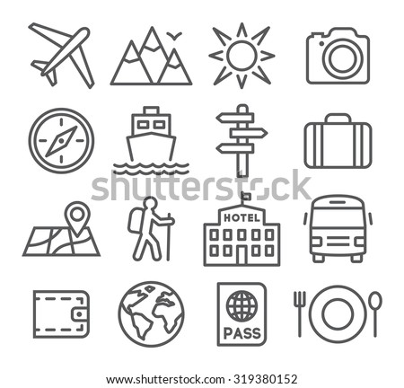 Travel and tourism icon set in trendy linear style - stock vector