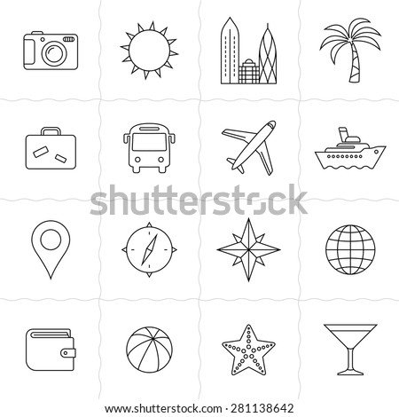 Travel and tourism icon set. Vacation and travel icons. Simple outlined icons. Linear style - stock vector