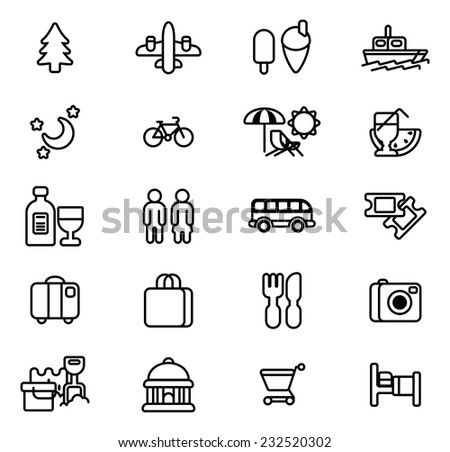 Travel and tourism icons including beach deck chair, airplane, icecream, museum and many more - stock vector