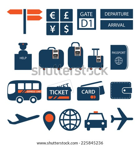 Travel and tourism icons isolated on white background - stock vector