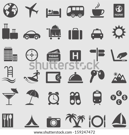 Travel  and Tourism icons set. Vector - stock vector