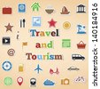 Travel and tourism icons, vector eps10 illustration - stock vector