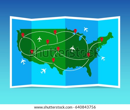 Travel And Tourism Map United States Of America Folded World Map With Airplanes And Markers
