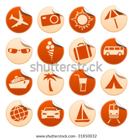 Travel and tourism stickers - stock vector