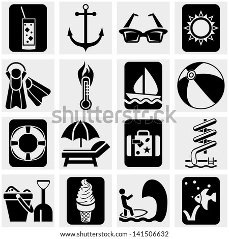 Travel and tourism,  summer vector icons set on gray. - stock vector