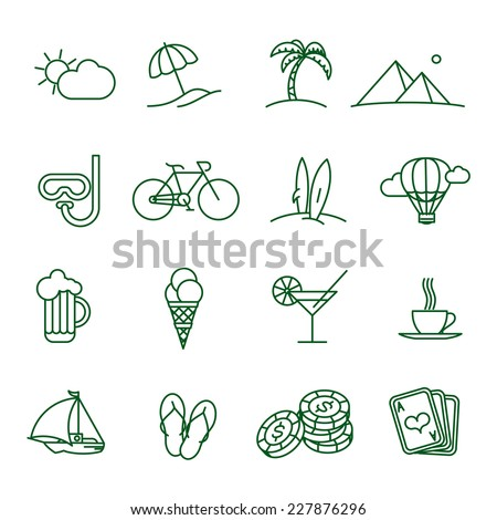 Travel and tourism  thin line vector icon set - stock vector