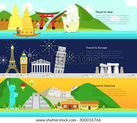 Travel and tourism to the main continent of Asia, Europe, and America infographic banner badge design layout, create by vector - stock vector