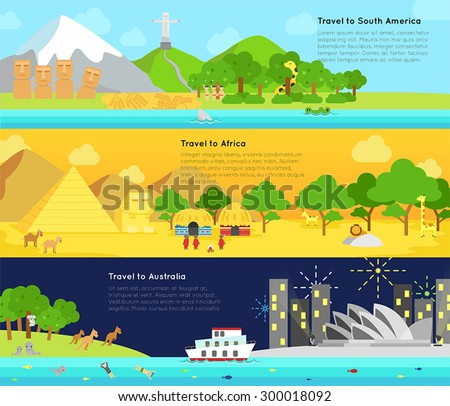Travel and tourism to the main continent of South America, Africa, and Australia info graphic banner badge design layout, create by vector