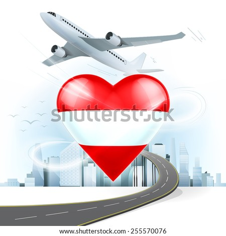 travel and transport concept with Austria flag on heart vector illustration with cityscape background - stock vector